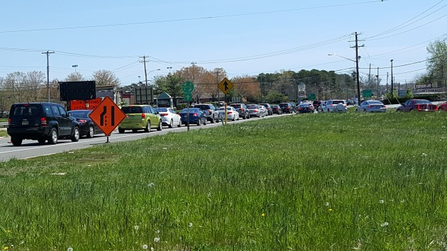 Jammed traffic on the Black Horse Pike approaching Wrangleboro Road Sunday Afternoon - Photo: Chris Coleman/Townsquare Media